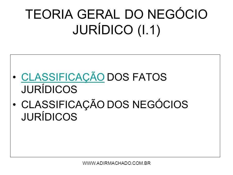 TEORIA GERAL DO NEGÓCIO JURÍDICO (I.1)