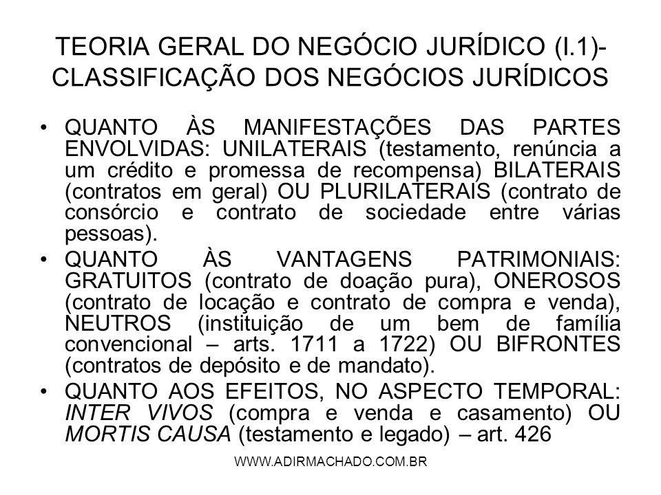 TEORIA GERAL DO NEGÓCIO JURÍDICO (I