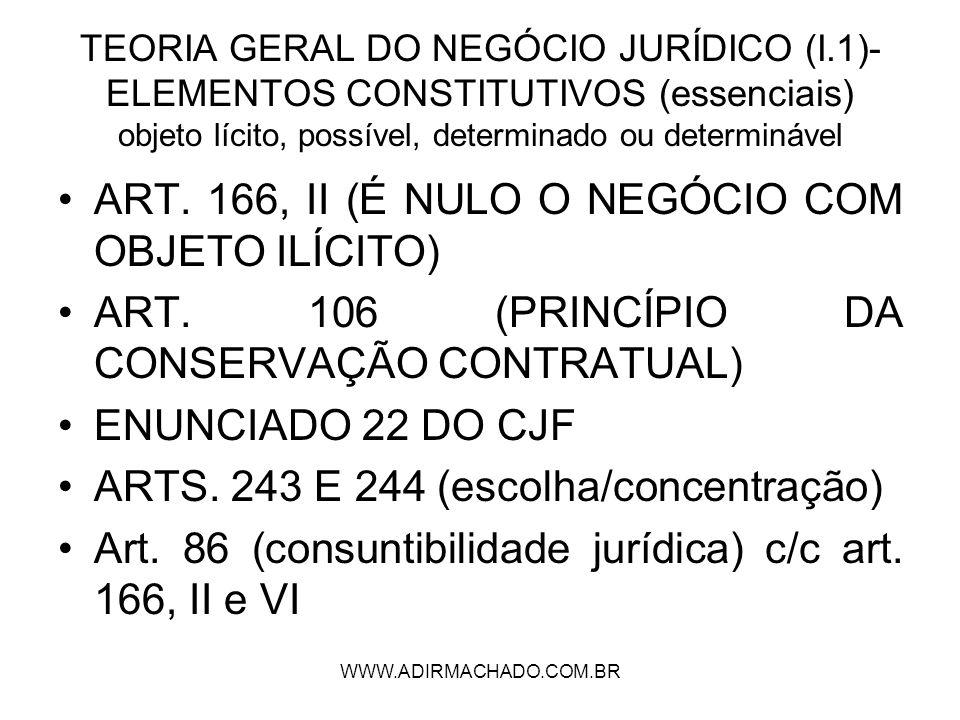 ART. 166, II (É NULO O NEGÓCIO COM OBJETO ILÍCITO)