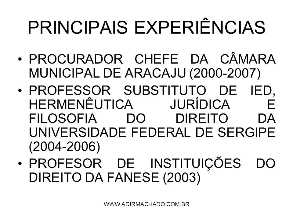 PRINCIPAIS EXPERIÊNCIAS