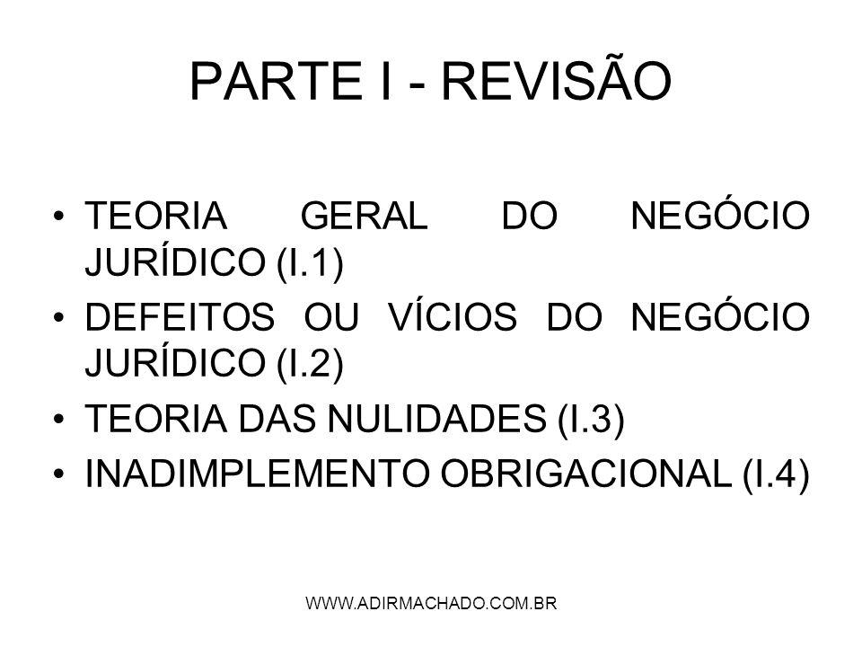 PARTE I - REVISÃO TEORIA GERAL DO NEGÓCIO JURÍDICO (I.1)