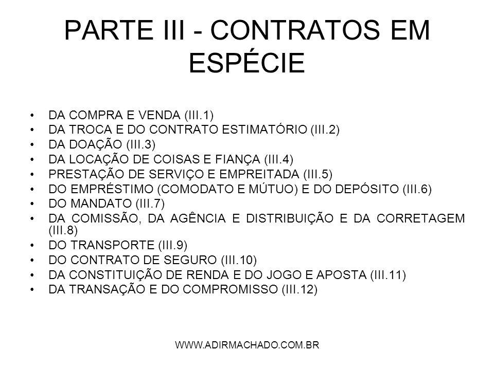 PARTE III - CONTRATOS EM ESPÉCIE