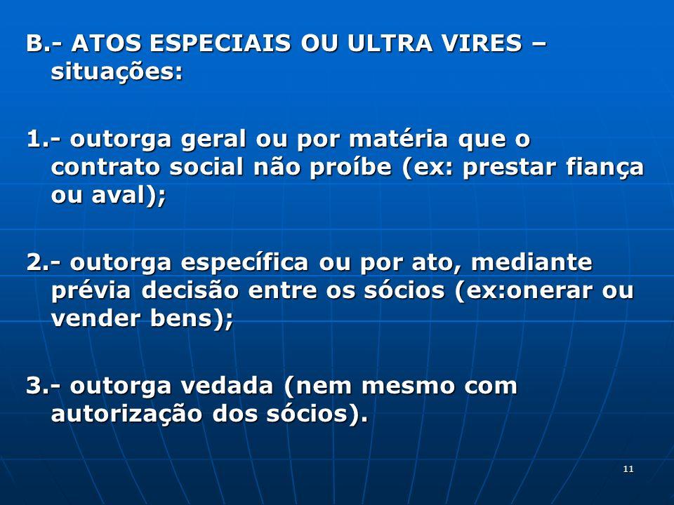 B.- ATOS ESPECIAIS OU ULTRA VIRES – situações: