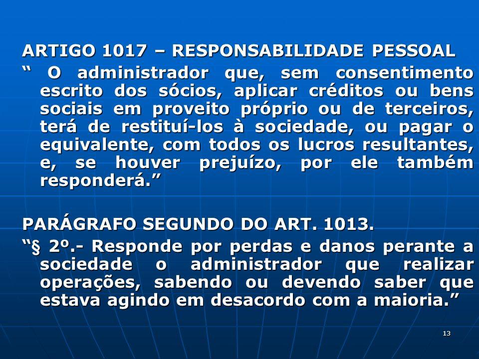 ARTIGO 1017 – RESPONSABILIDADE PESSOAL