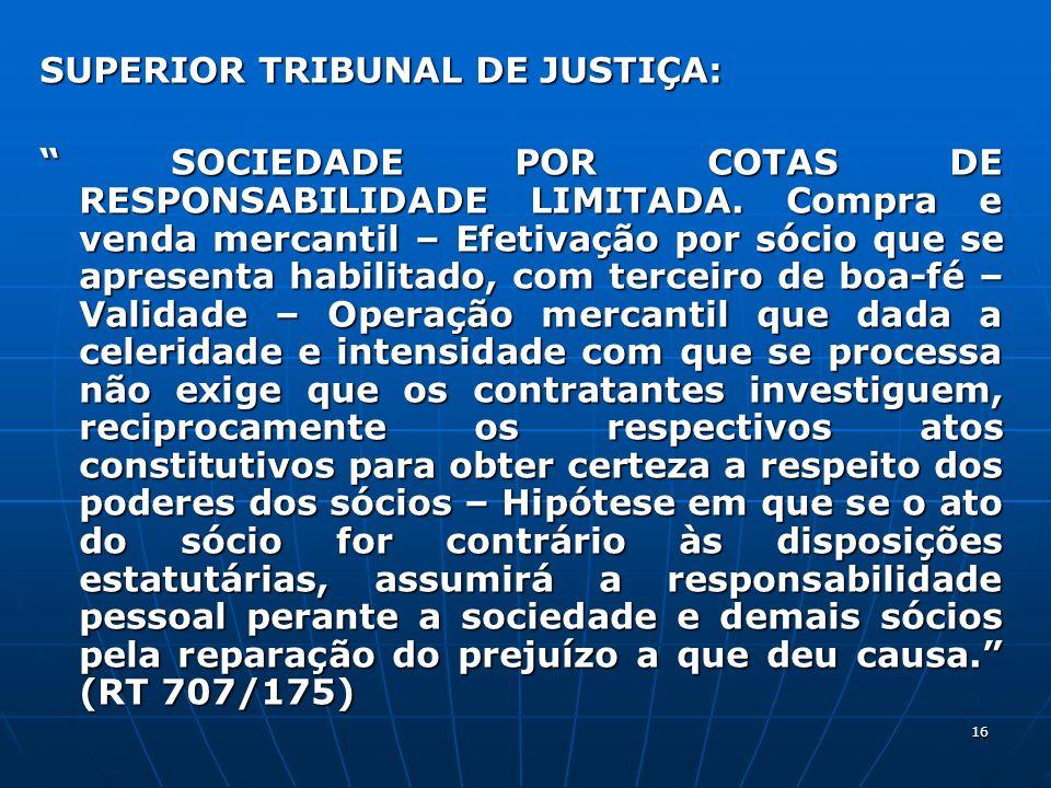 SUPERIOR TRIBUNAL DE JUSTIÇA: