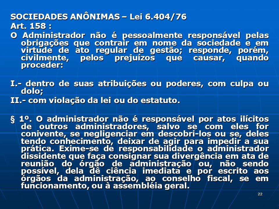 SOCIEDADES ANÔNIMAS – Lei 6.404/76