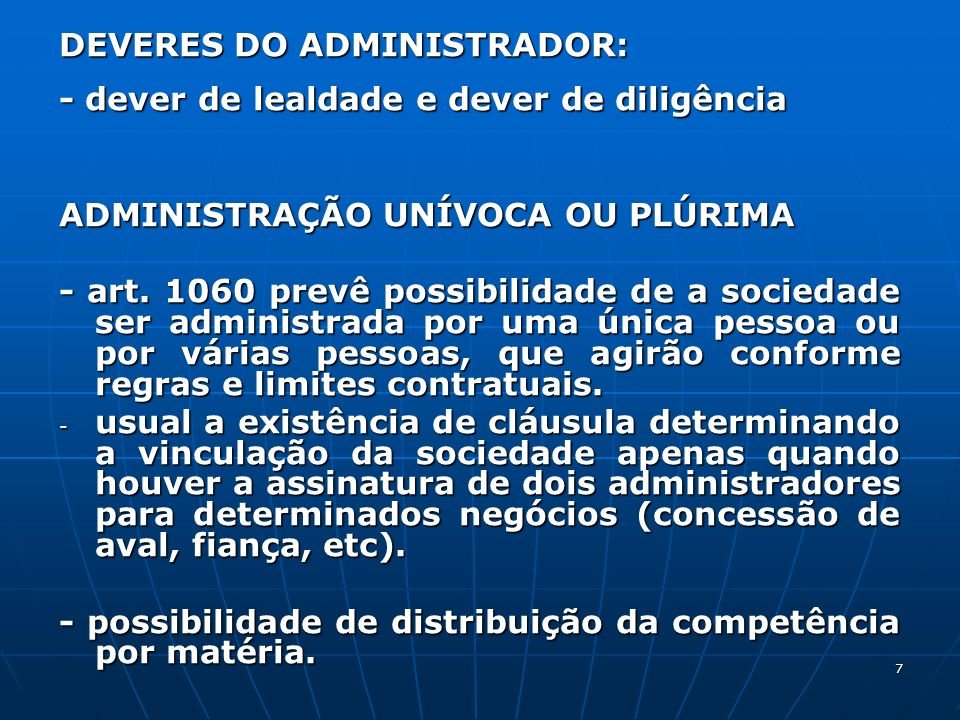 DEVERES DO ADMINISTRADOR: