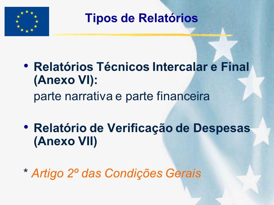 Tipos de Relatórios Relatórios Técnicos Intercalar e Final (Anexo VI): parte narrativa e parte financeira.