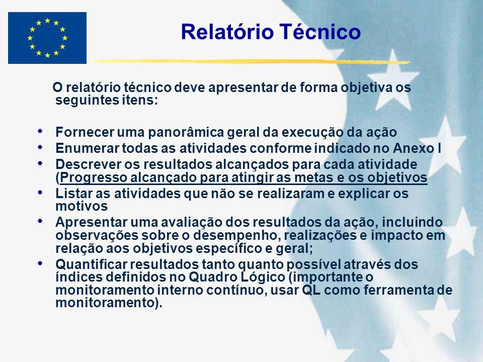 Relatório Técnico O relatório técnico deve apresentar de forma objetiva os seguintes itens: Fornecer uma panorâmica geral da execução da ação.