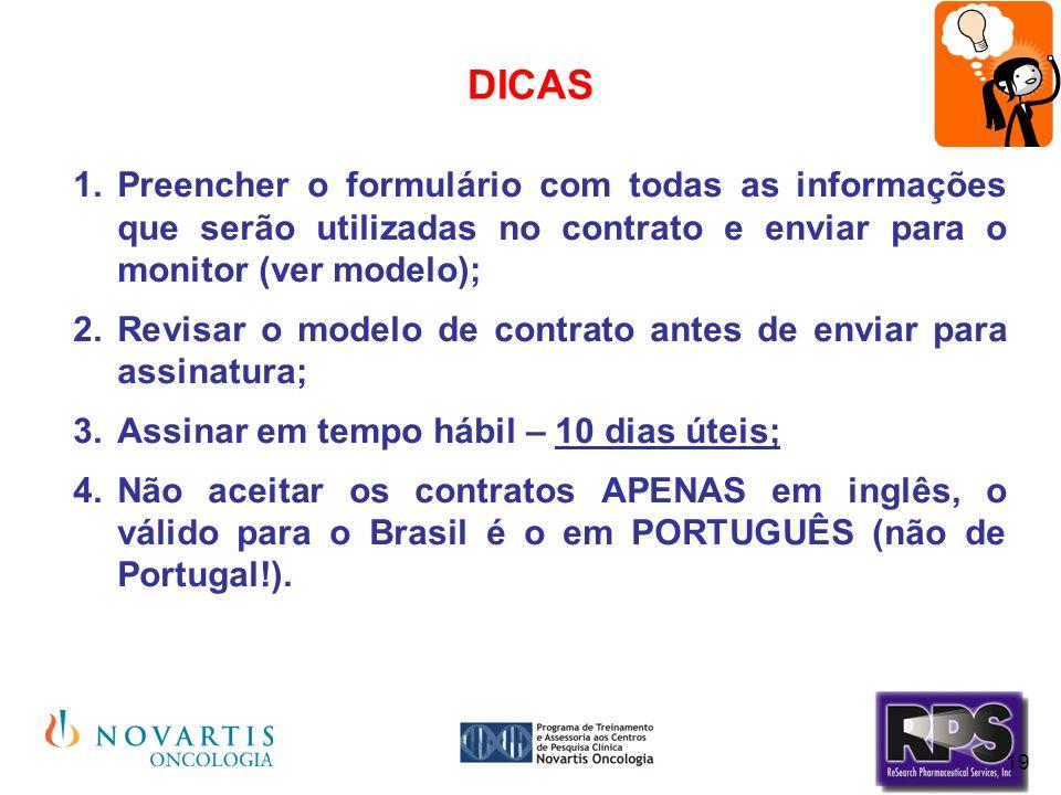 DICAS Preencher o formulário com todas as informações que serão utilizadas no contrato e enviar para o monitor (ver modelo);