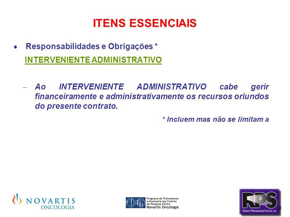 ITENS ESSENCIAIS Responsabilidades e Obrigações *
