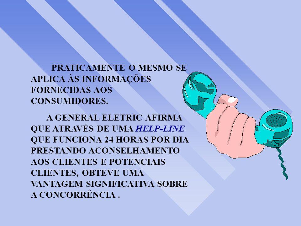 PRATICAMENTE O MESMO SE APLICA ÀS INFORMAÇÕES FORNECIDAS AOS CONSUMIDORES.