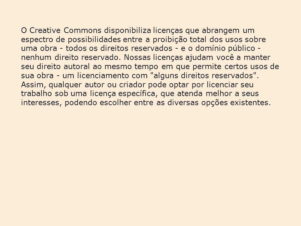 O Creative Commons disponibiliza licenças que abrangem um espectro de possibilidades entre a proibição total dos usos sobre uma obra - todos os direitos reservados - e o domínio público - nenhum direito reservado.