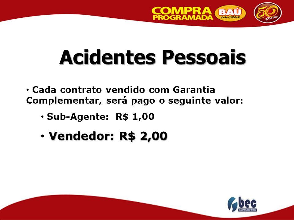 Acidentes Pessoais Vendedor: R$ 2,00