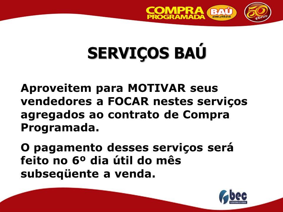 SERVIÇOS BAÚ Aproveitem para MOTIVAR seus vendedores a FOCAR nestes serviços agregados ao contrato de Compra Programada.