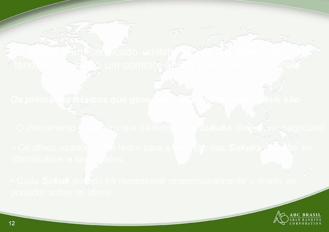 O Sukuk é um certificado emitido sob as leis islâmicas, tendo como lastro um contrato aceito pelas leis do Shariah.