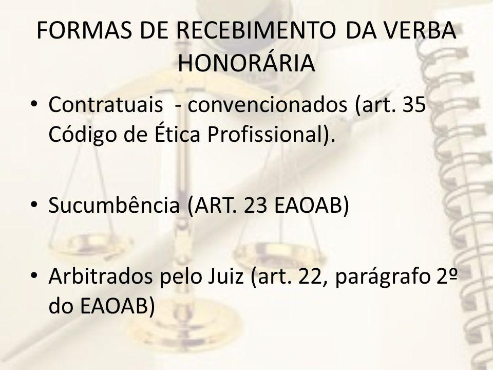 FORMAS DE RECEBIMENTO DA VERBA HONORÁRIA