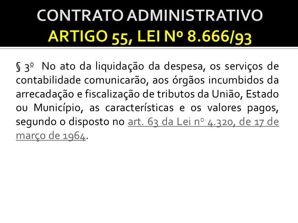 CONTRATO ADMINISTRATIVO ARTIGO 55, LEI Nº 8.666/93