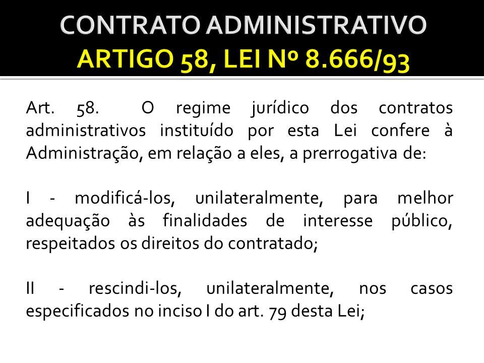 CONTRATO ADMINISTRATIVO ARTIGO 58, LEI Nº 8.666/93