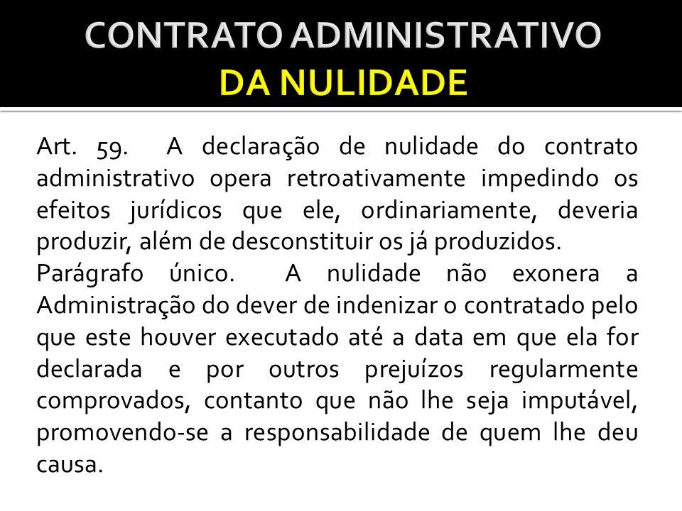 CONTRATO ADMINISTRATIVO DA NULIDADE