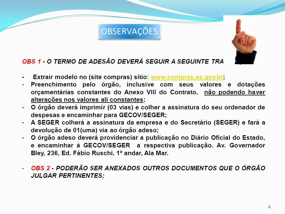 OBS 1 - O TERMO DE ADESÃO DEVERÁ SEGUIR A SEGUINTE TRAMITAÇÃO: