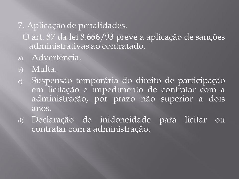 7. Aplicação de penalidades.