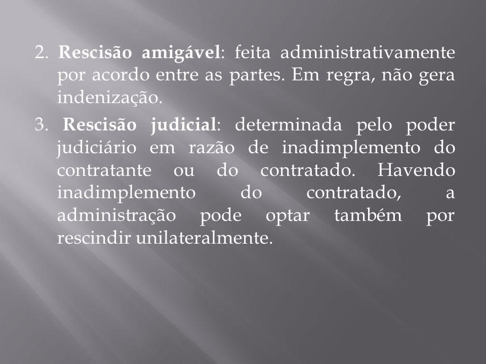 2. Rescisão amigável: feita administrativamente por acordo entre as partes.