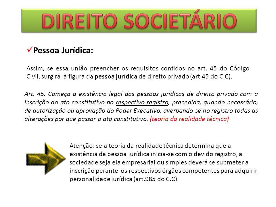 DIREITO SOCIETÁRIO Pessoa Jurídica:
