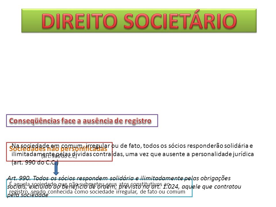 DIREITO SOCIETÁRIO Conseqüências face a ausência de registro
