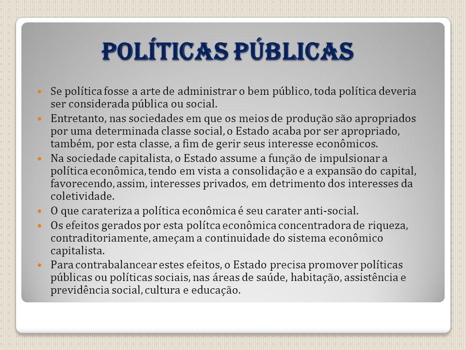 Políticas públicas Se política fosse a arte de administrar o bem público, toda política deveria ser considerada pública ou social.