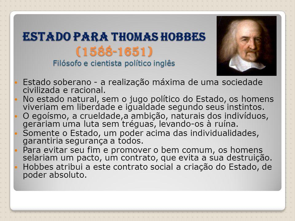 Estado para THOMAS HOBBES (1588-1651) Filósofo e cientista político inglês