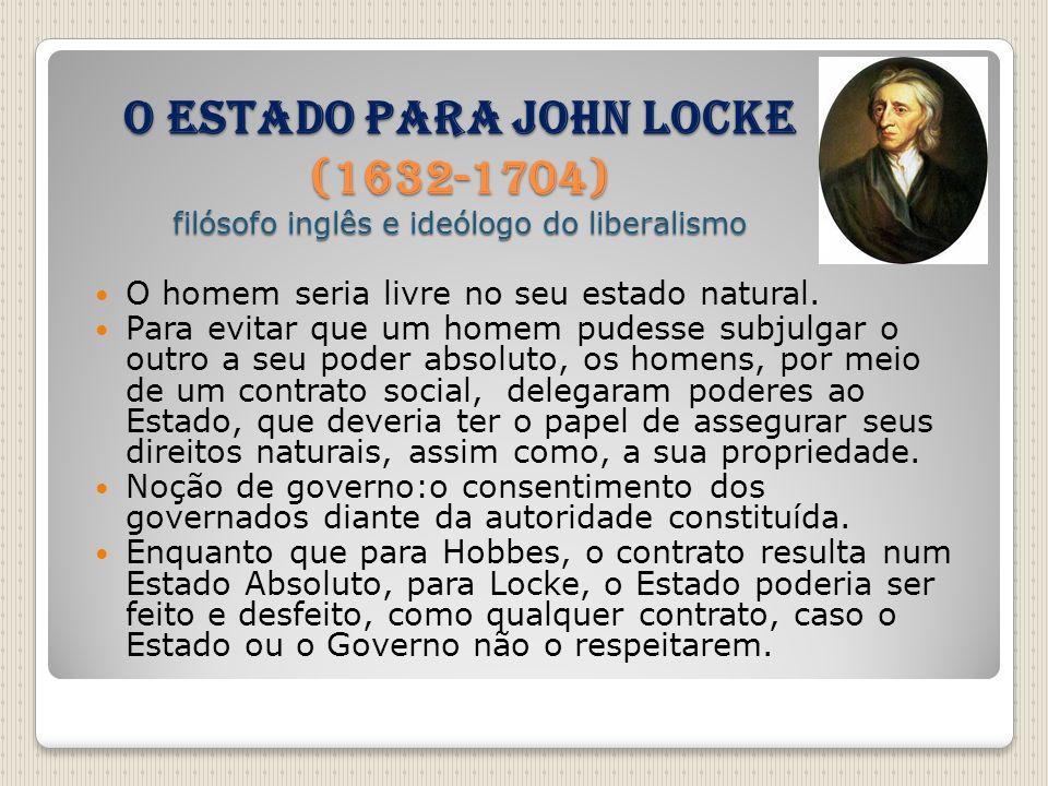 O Estado para John Locke (1632-1704) filósofo inglês e ideólogo do liberalismo
