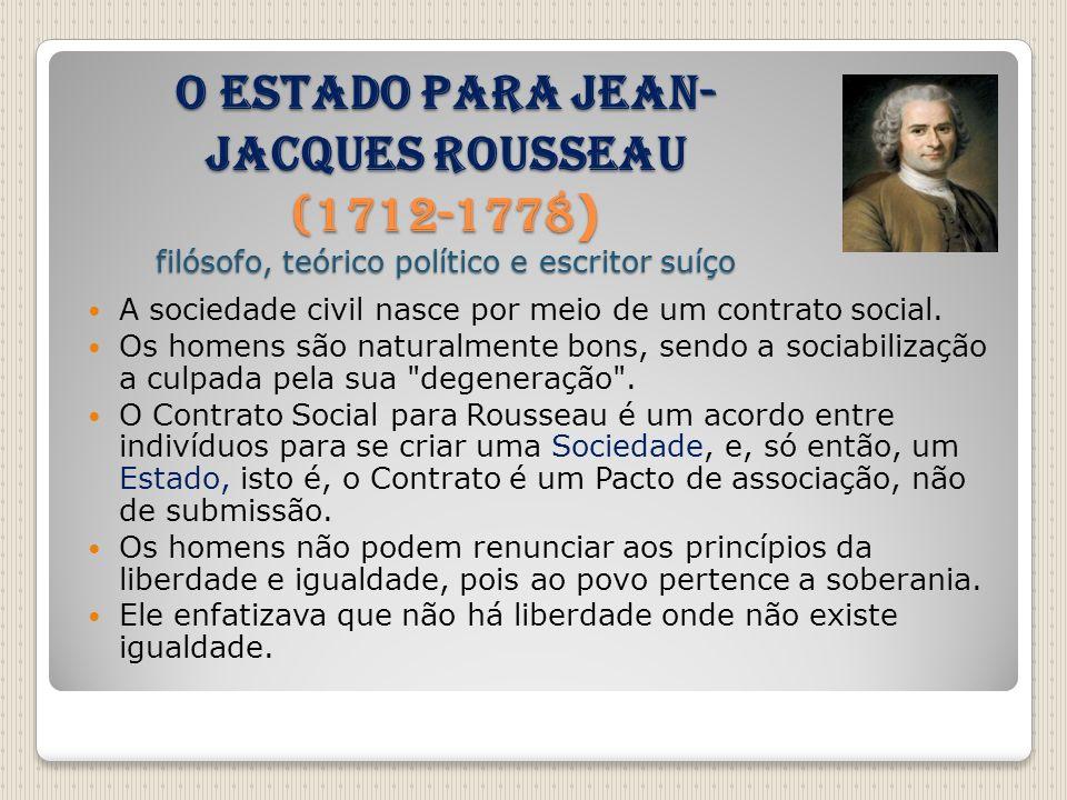 O Estado para Jean-Jacques Rousseau (1712-1778) filósofo, teórico político e escritor suíço