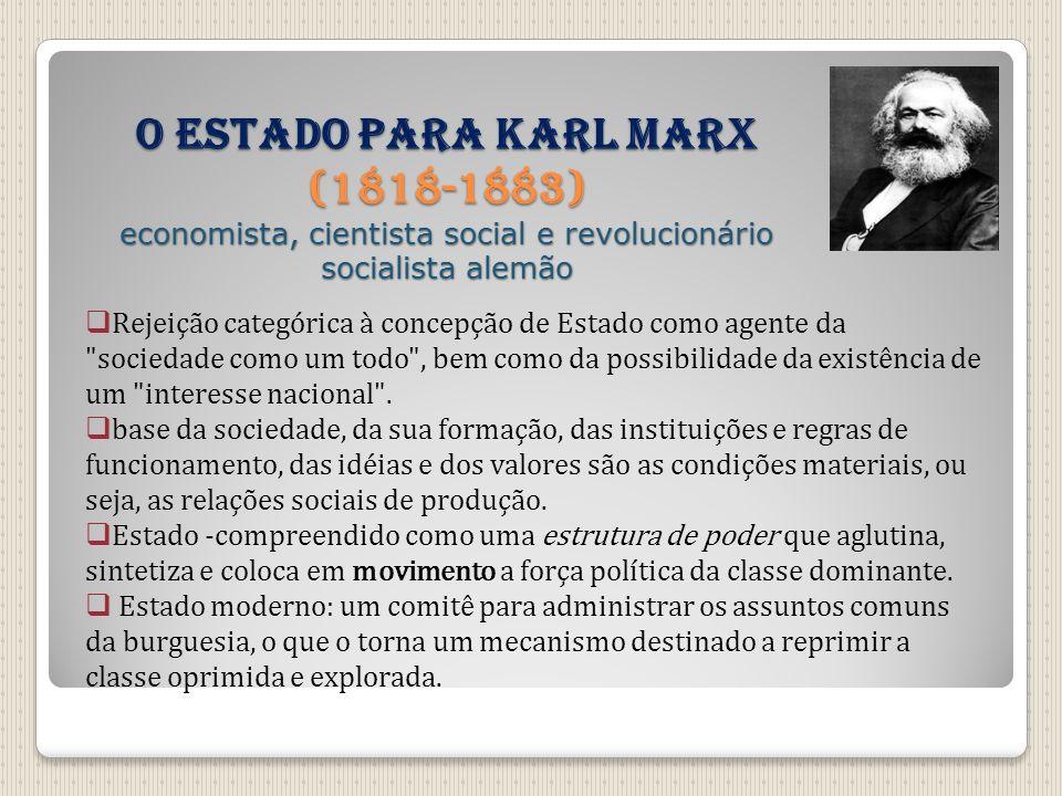 O Estado para Karl Marx (1818-1883) economista, cientista social e revolucionário socialista alemão