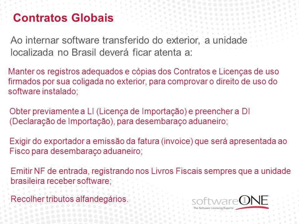 Contratos Globais Ao internar software transferido do exterior, a unidade localizada no Brasil deverá ficar atenta a: