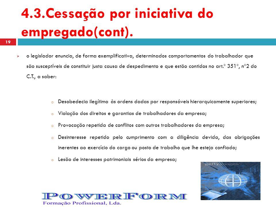 4.3.Cessação por iniciativa do empregado(cont).
