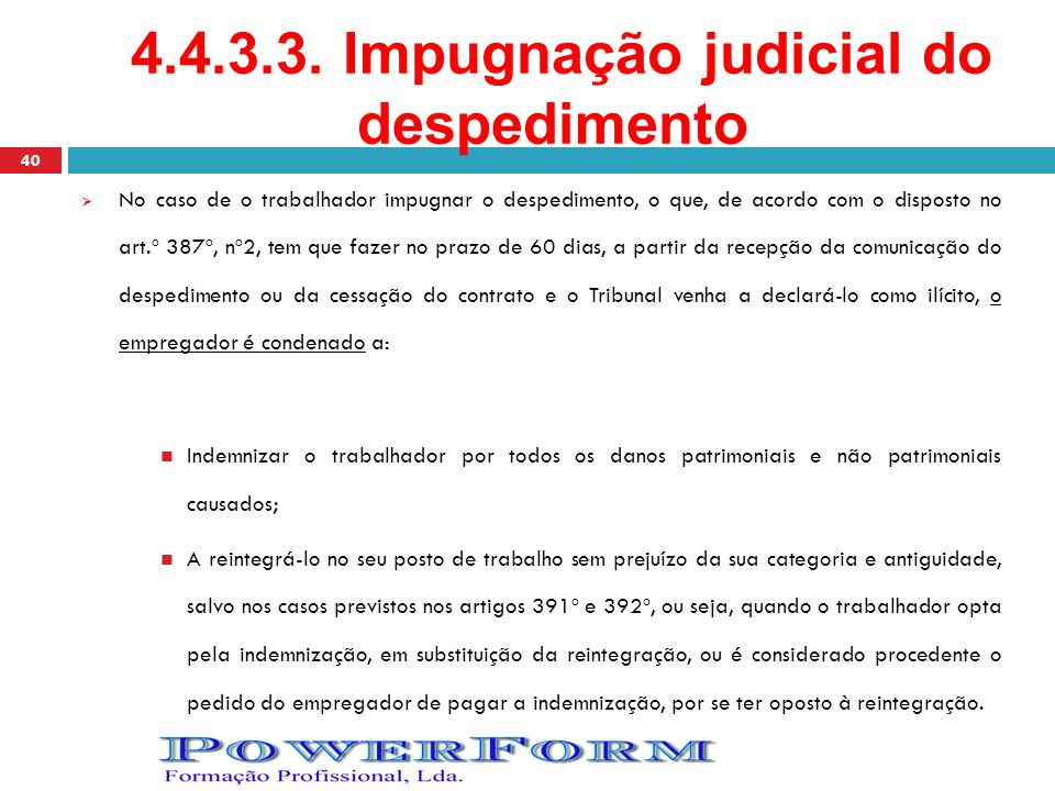 4.4.3.3. Impugnação judicial do despedimento