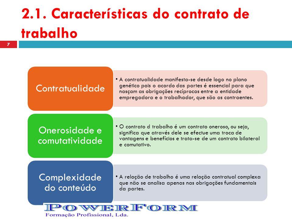 2.1. Características do contrato de trabalho