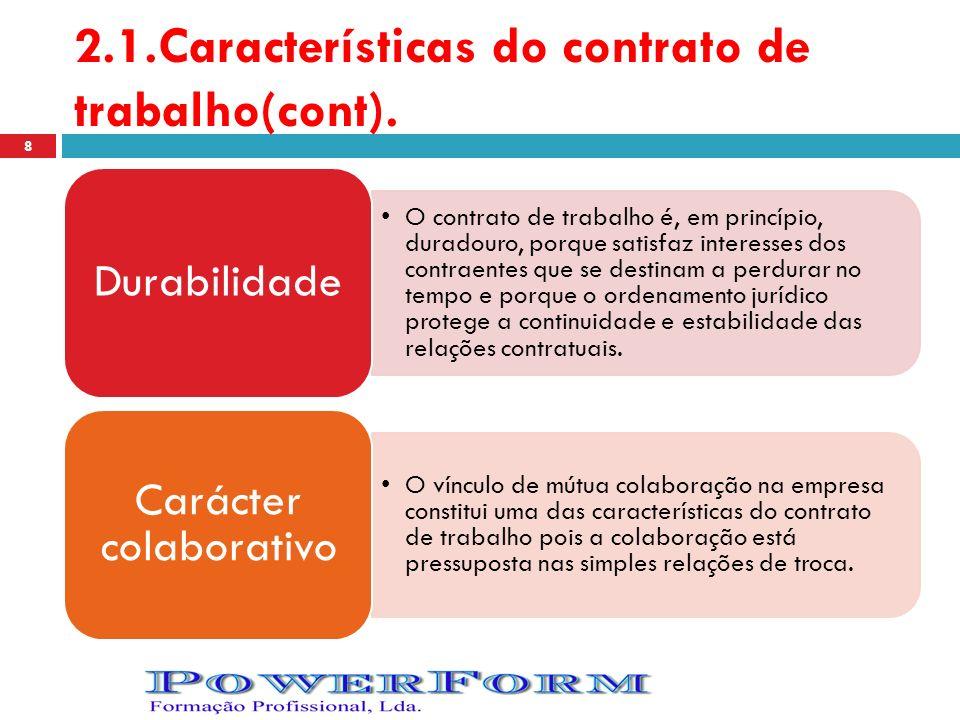 2.1.Características do contrato de trabalho(cont).