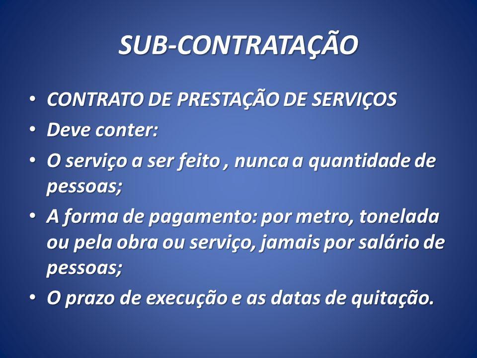 SUB-CONTRATAÇÃO CONTRATO DE PRESTAÇÃO DE SERVIÇOS Deve conter: