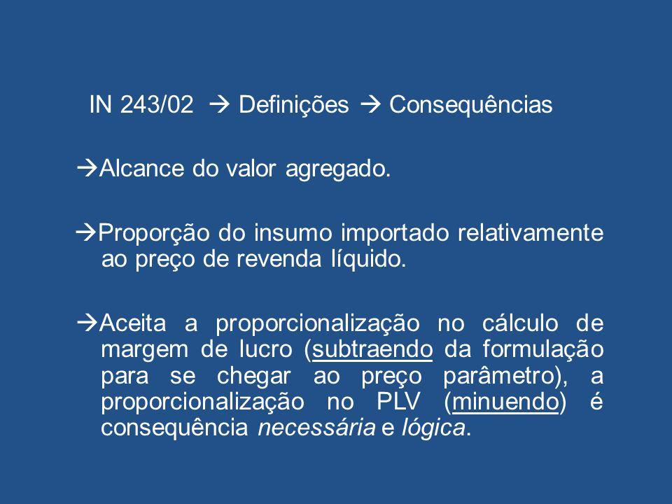 IN 243/02  Definições  Consequências