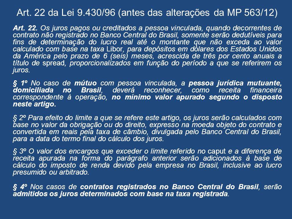 Art. 22 da Lei 9.430/96 (antes das alterações da MP 563/12)