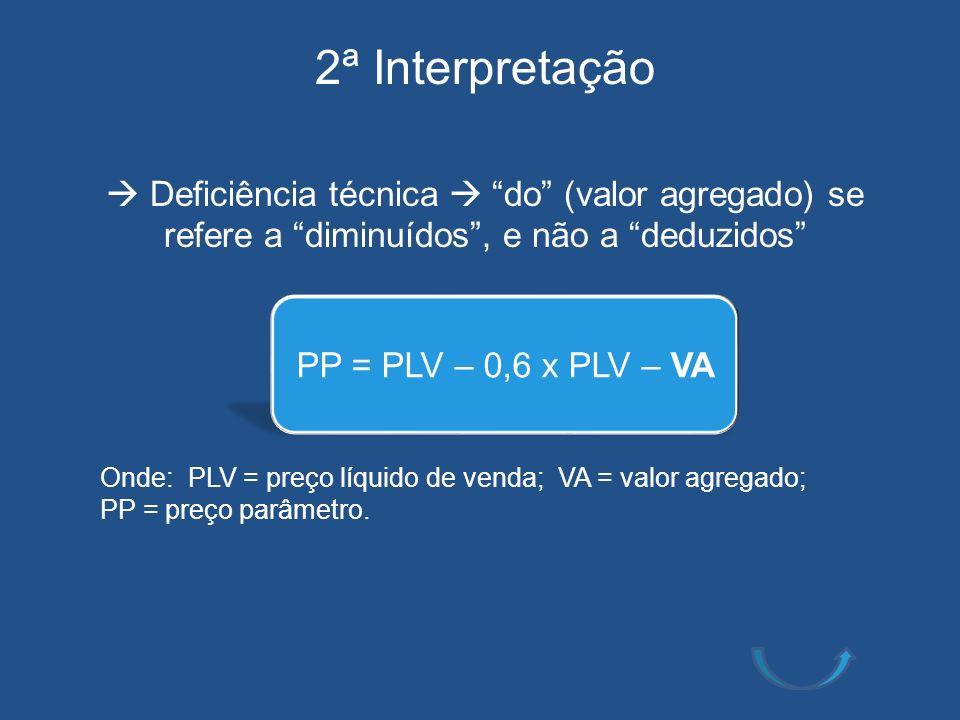 2ª Interpretação  Deficiência técnica  do (valor agregado) se refere a diminuídos , e não a deduzidos