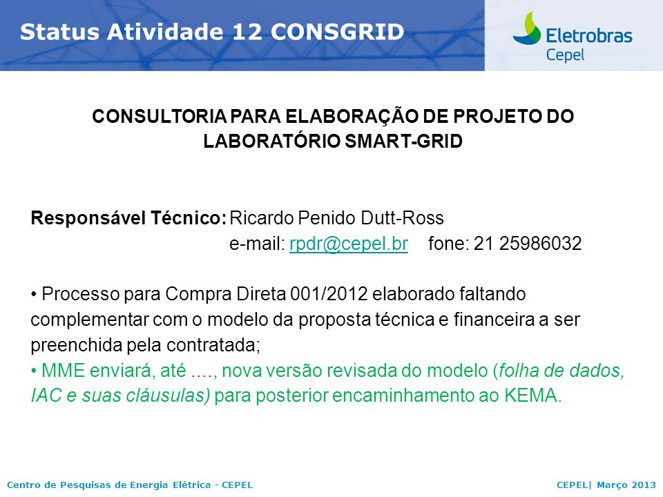 CONSULTORIA PARA ELABORAÇÃO DE PROJETO DO LABORATÓRIO SMART-GRID
