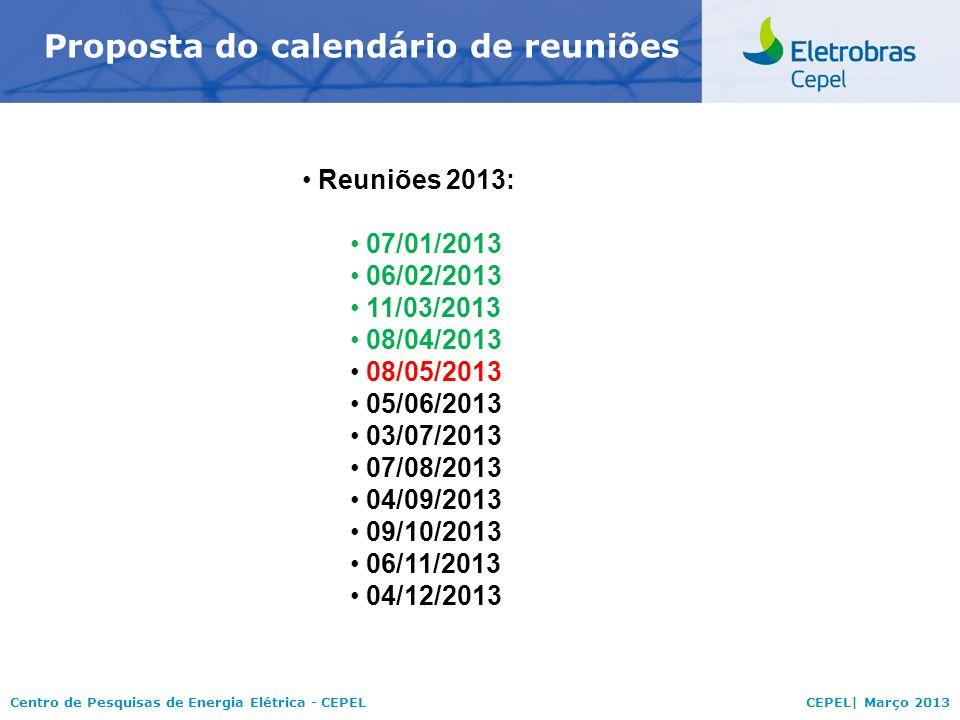Proposta do calendário de reuniões