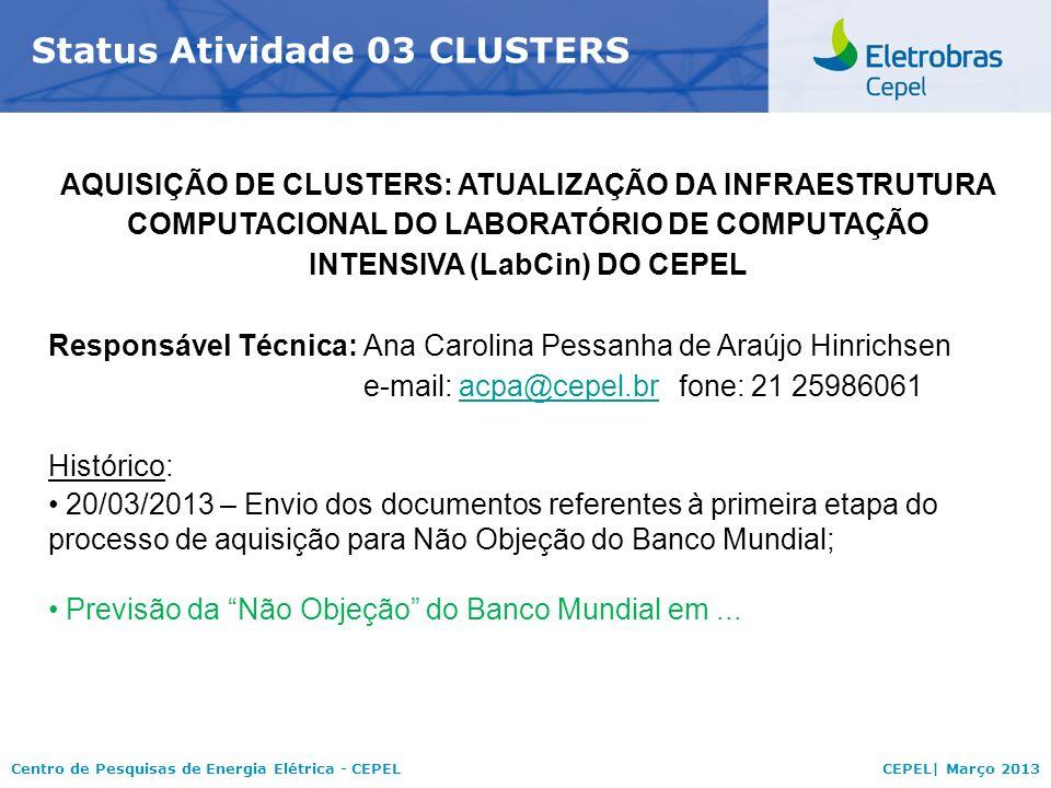 Status Atividade 03 CLUSTERS