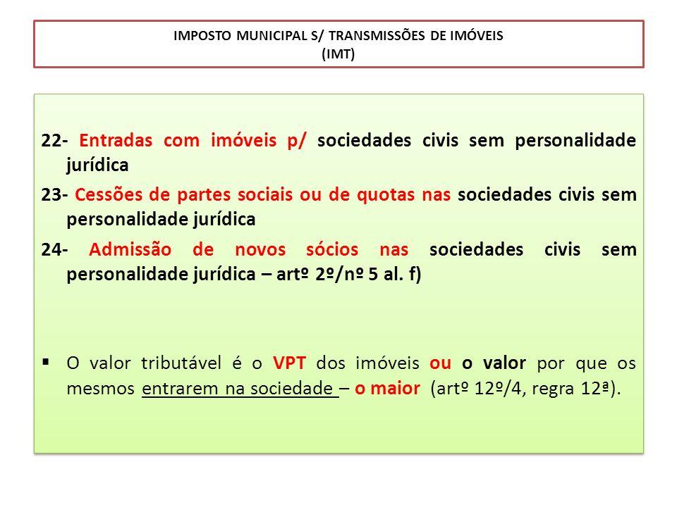 IMPOSTO MUNICIPAL S/ TRANSMISSÕES DE IMÓVEIS (IMT)
