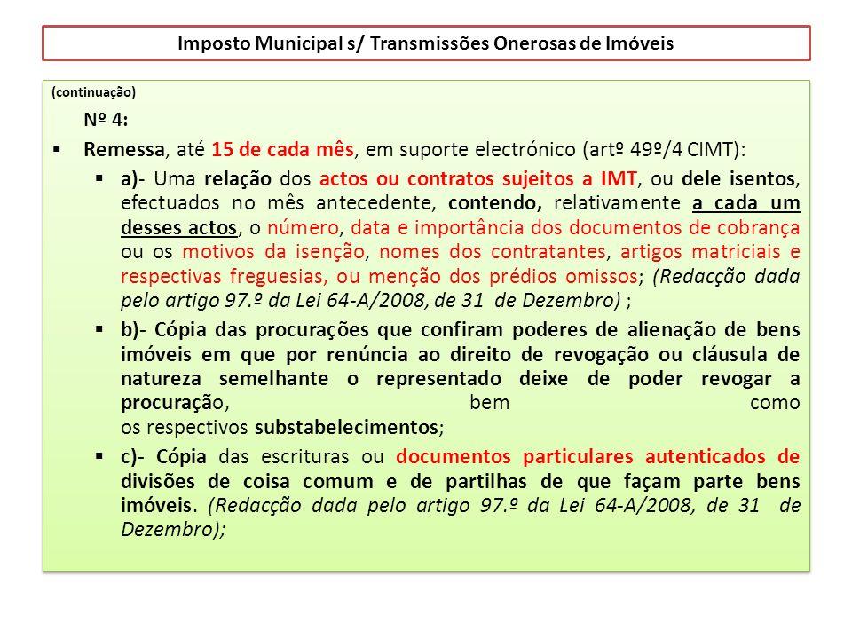 Imposto Municipal s/ Transmissões Onerosas de Imóveis