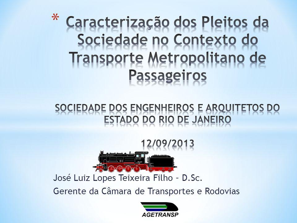Caracterização dos Pleitos da Sociedade no Contexto do Transporte Metropolitano de Passageiros SOCIEDADE DOS ENGENHEIROS E ARQUITETOS DO ESTADO DO RIO DE JANEIRO 12/09/2013