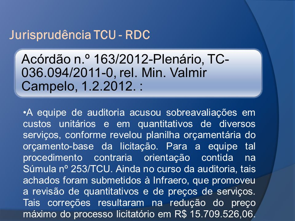 Jurisprudência TCU - RDC